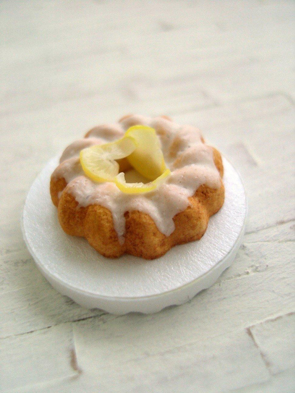 Miniature Lemon Bundt Cake - 1/12 Scale Dollhouse Miniature